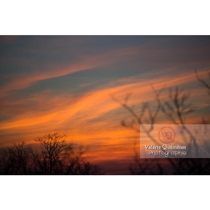 Ciel de cirrostratus orangé au coucher de soleil - Réf : VQ-CIEL-1529 (Q1)