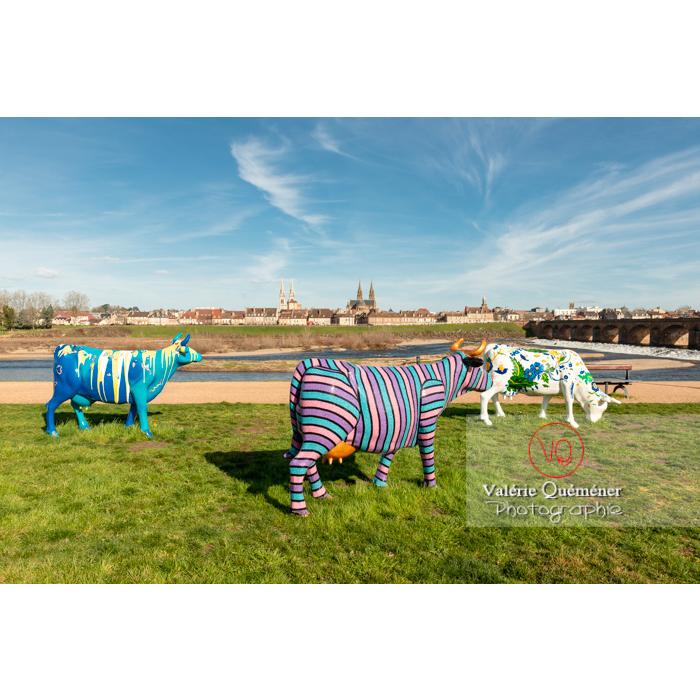 Exposition de sculptures de vaches pour la Cow Parade sur la rive gauche de l'Allier à Moulins / Allier / Auvergne-Rhône-Alpes - Réf : VQFR03-0314 (Q3)