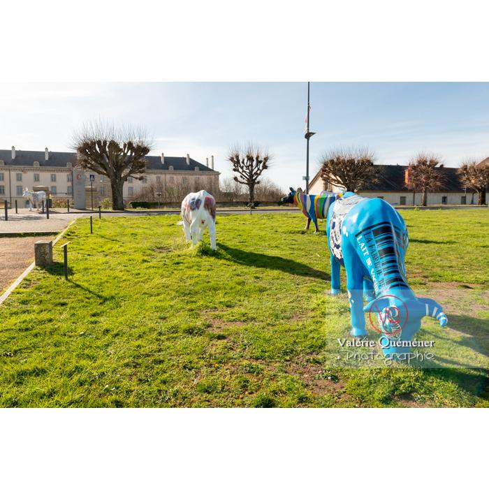 Exposition de sculptures de vaches dans Moulins, 'Milk Factory' en bleu de Denis Poughon / Allier / Auvergne-Rhône-Alpes - Réf : VQFR03-0328 (Q3)