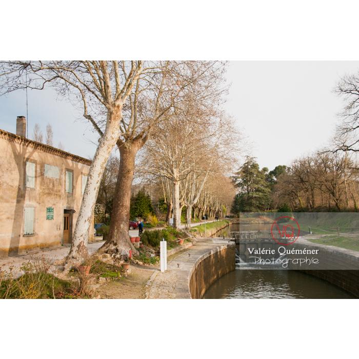 Écluse de la méditerranée proche du seuil de Naurouze, sur le canal du Midi, commune de Montferrand / Aude / Occitanie - Réf : VQFR11-0307 (Q2)