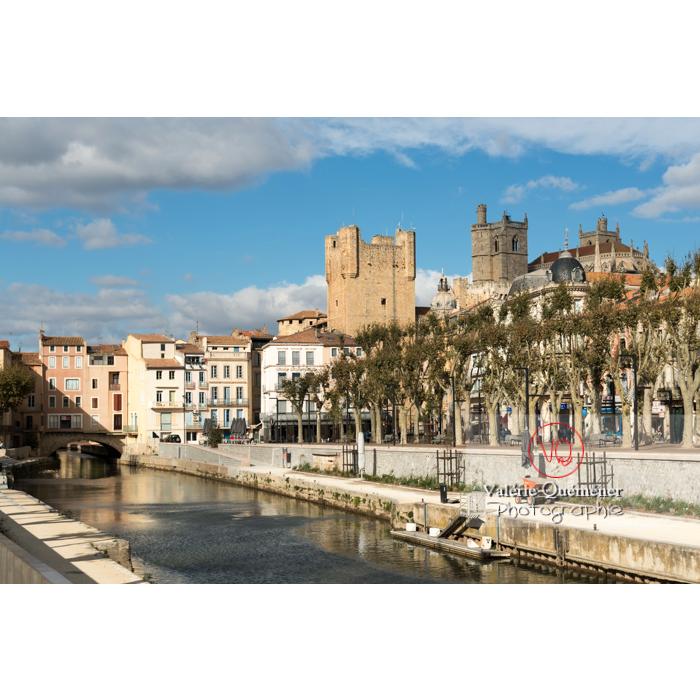 Vue sur le palais des archevêques et le pont des marchands depuis le canal de la Robine, à Narbonne - Réf : VQFR11-0354 (Q3)