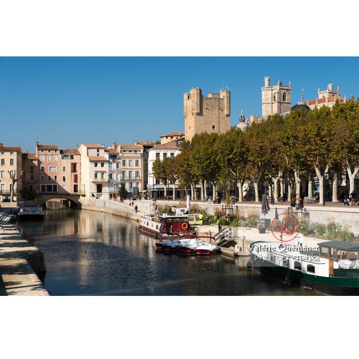 Vue sur le palais des archevêques et le pont des marchands depuis le canal de la Robine, à Narbonne - Réf : VQFR11-0420 (Q3)