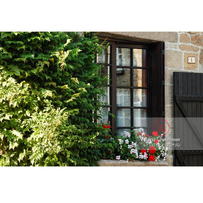 Détail de façade de maison à Moncontour / Côtes d'Armor / Bretagne / Réf : VQFR22-0254 (Q1)