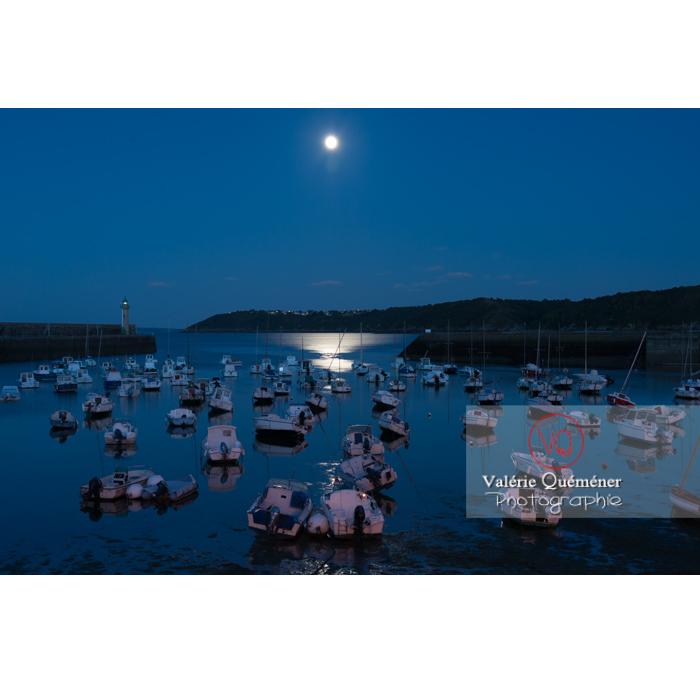 Port de Binic une nuit de pleine lune / Côtes d'Armor / Bretagne - Réf : VQFR22-0964 (Q3)
