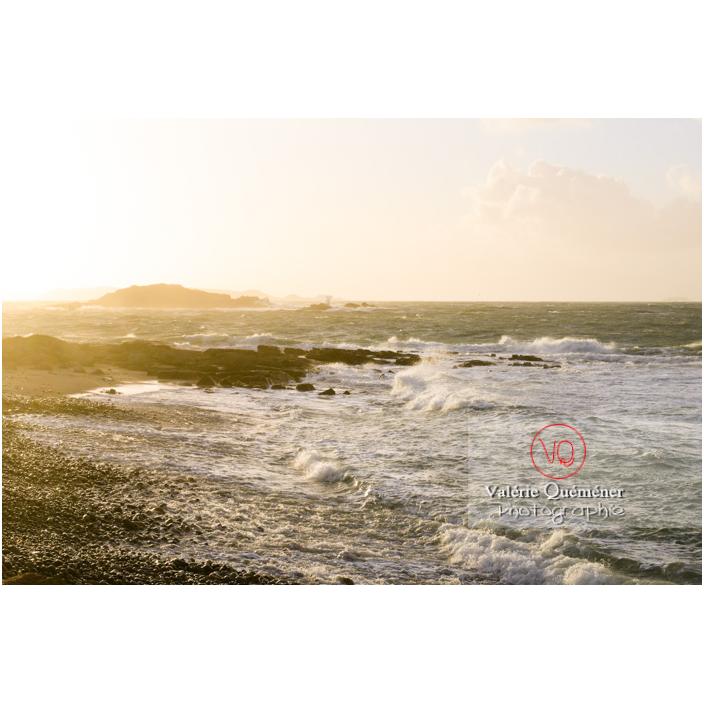 Vent fort sur le littoral de Port-Blanc, commune de Penvénan - Vue sur l'île Brug / Côtes d'Armor (22) / France - Réf : VQFR22-3048 (Q3)