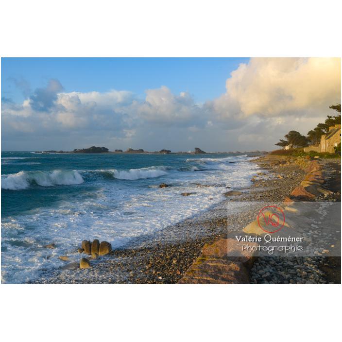 Vent fort sur le littoral de Port-Blanc, commune de Penvénan - Vue sur l'île aux femmes / Côtes d'Armor (22) / France - Réf : VQFR22-3068 (Q3)
