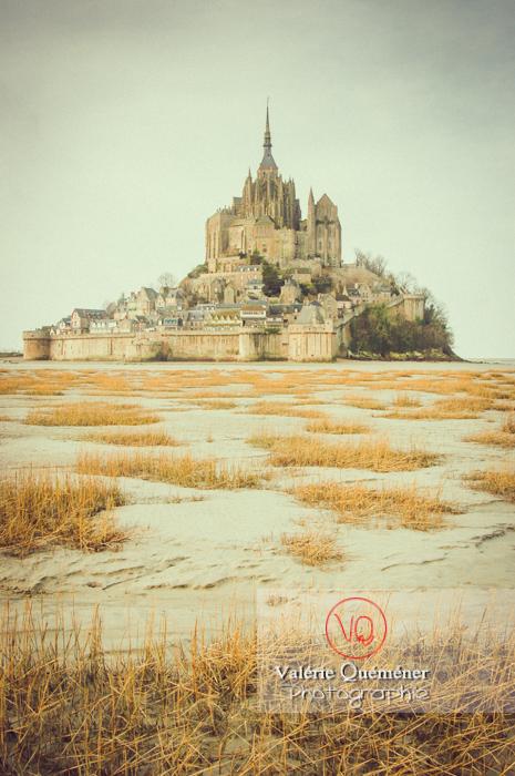 Mont-St-Michel et sa baie à marée basse / Normandie - Réf : VQFR50-0015-TV (Q1)