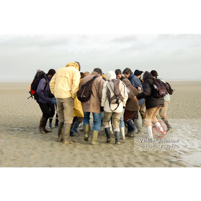 Test sables mouvants dans la baie du Mont St-Michel à marée basse - Réf : VQFR50-0019 (Q1)