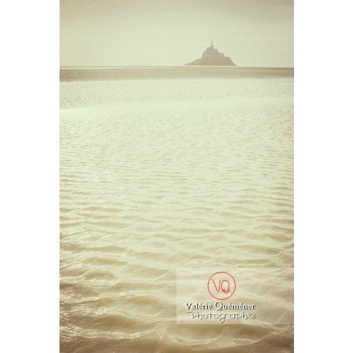 Bras de rivière de la baie du Mont-St-Michel à marée basse / Normandie - Réf : VQFR50-0032-TV (Q1)