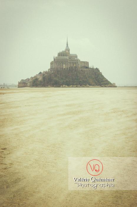 Mont-St-Michel et sa baie à marée basse / Normandie - Réf : VQFR50-0039-TV (Q1)