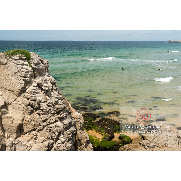 Plage de Port Bara sur la côte sauvage sur la presqu'île de Quiberon / Morbihan / Bretagne / France - Réf : VQFR56-0514 (Q3)