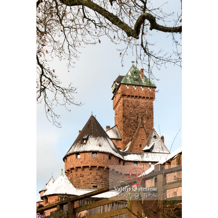 Donjon du château du Haut-Koenigsbourg (MH) sous la neige / Orschwiller / Bas-Rhin / Grand-Est - Réf : VQFR67-0032 (Q3)