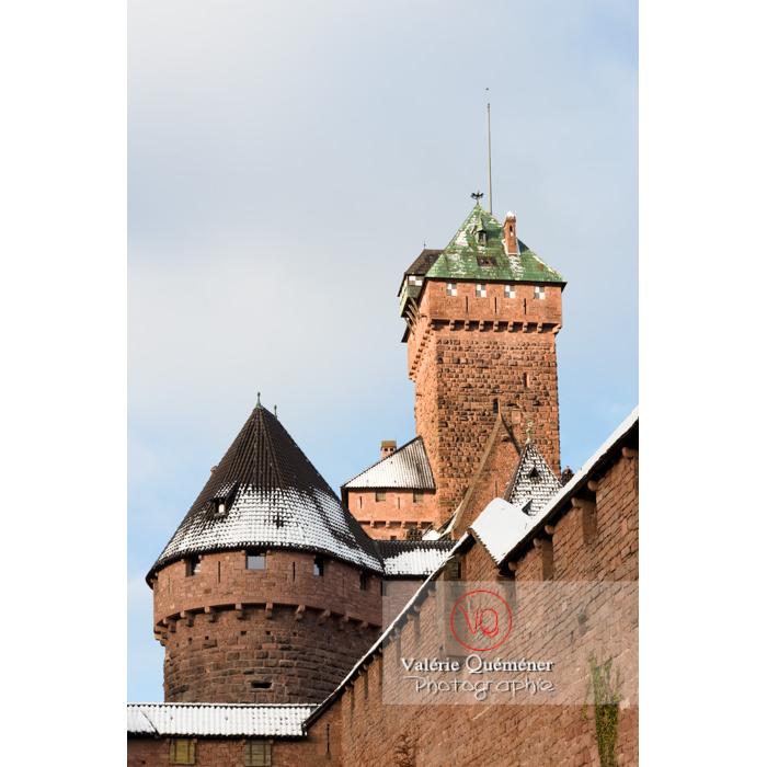 Donjon du château du Haut-Koenigsbourg (MH) sous la neige / Orschwiller / Bas-Rhin / Grand-Est - Réf : VQFR67-0034 (Q3)