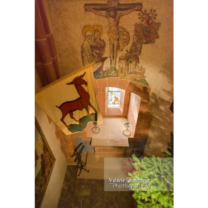 Peinture du Christ sur le mur de la chapelle au château du Haut-Koenigsbourg (MH) / Orschwiller / Bas-Rhin / Grand-Est - Réf : VQFR67-0122 (Q3)