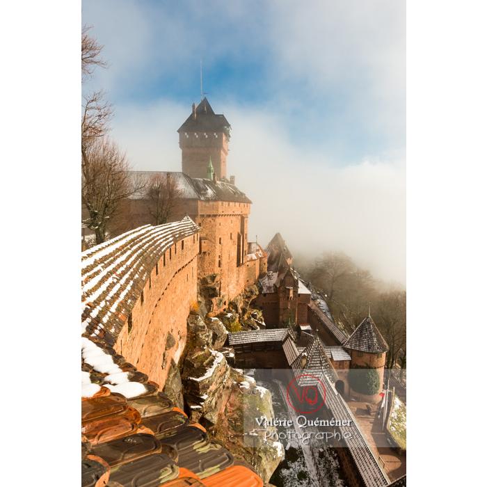 Château du Haut-Koenigsbourg (MH) dans la brume et la neige / Orschwiller / Bas-Rhin / Grand-Est - Réf : VQFR67-0176 (Q3)