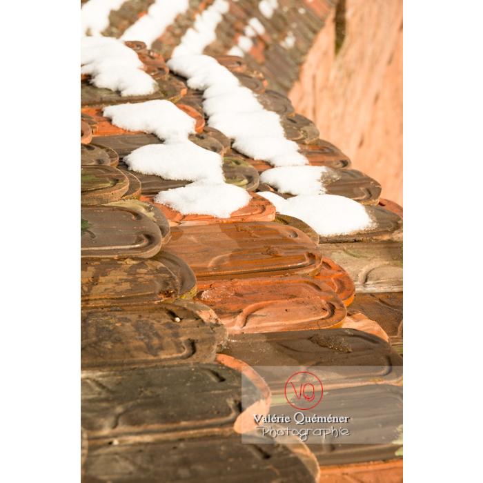 Tuiles de la toiture du chemin de ronde du château du Haut-Koenigsbourg (MH) / Orschwiller / Bas-Rhin / Grand-Est - Réf : VQFR67-0180 (Q3)