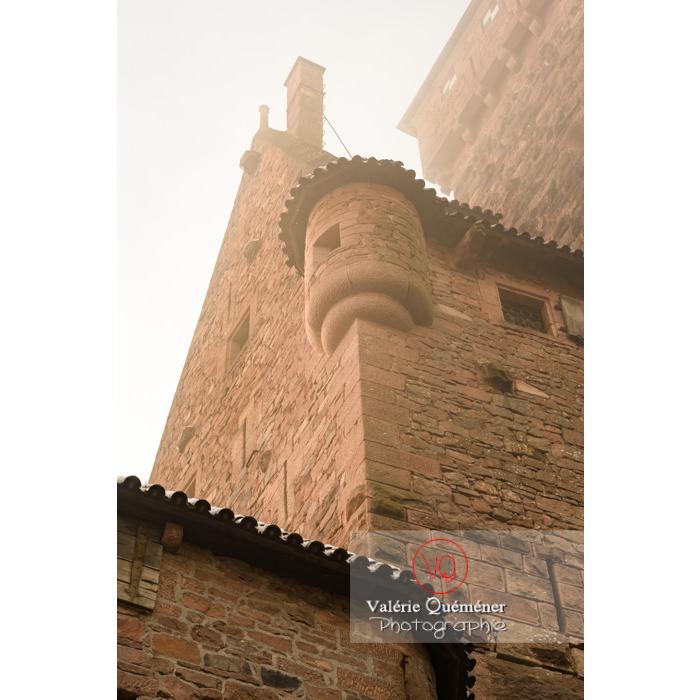 Echauguette du château du Haut-Koenigsbourg (MH) dans la brume / Orschwiller / Bas-Rhin / Grand-Est - Réf : VQFR67-0197 (Q3)