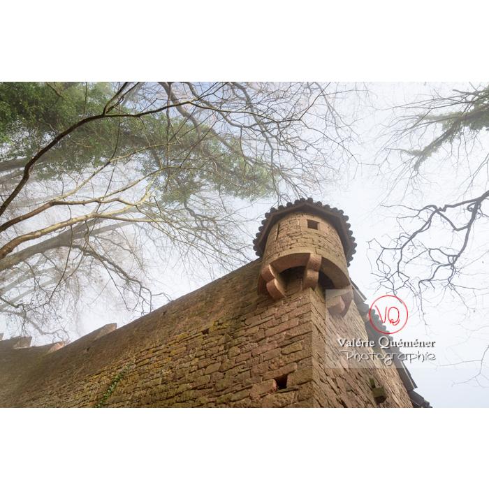 Contre-plongée sous une échauguette à l'ouest de l'enceinte du château du Haut-Koenigsbourg (MH) / Orschwiller / Bas-Rhin / Grand-Est - Réf : VQFR67-0208 (Q3)