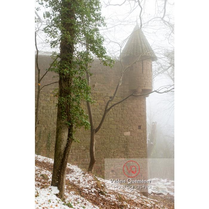 Tourelle dans la brume de l'enceinte ouest du château du Haut-Koenigsbourg (MH) / Orschwiller / Bas-Rhin / Grand-Est - Réf : VQFR67-0213 (Q3)