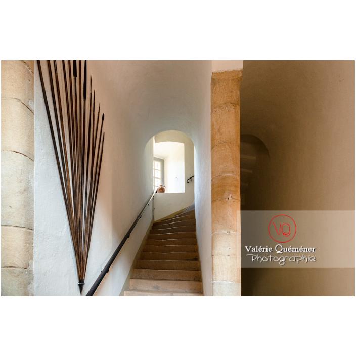 Escalier intérieur au château de Drée (MH) à Curbigny / Saône-et-Loire / Bourgogne-Franche-Comté - Réf : VQFR71-2814 (Q3)