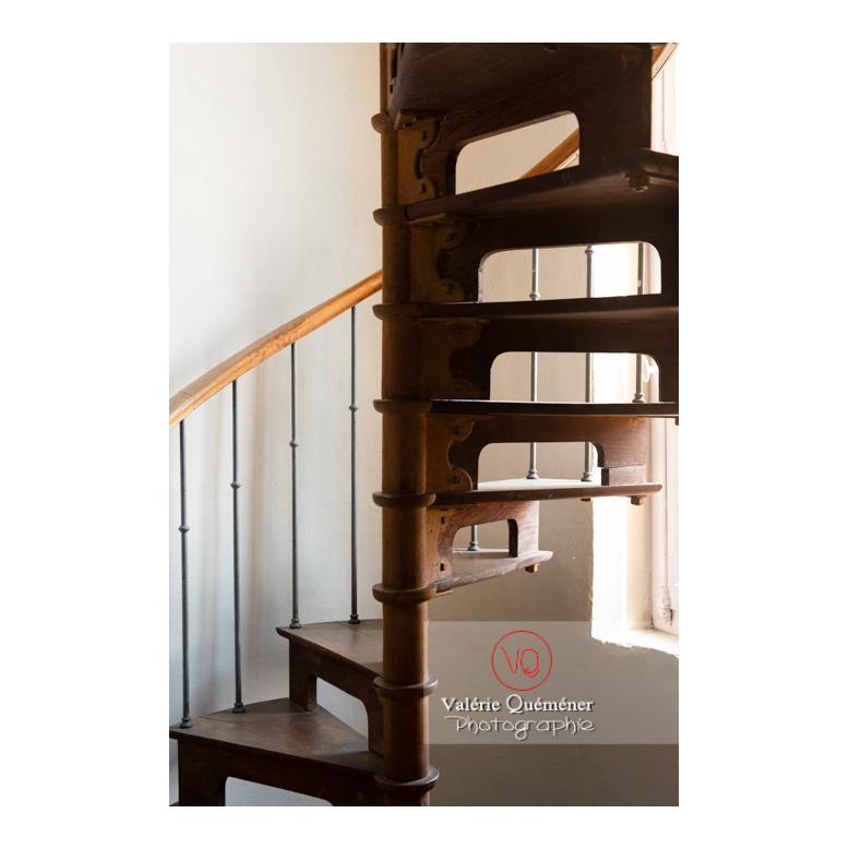 Escalier en colimaçon en bois au château de Drée (MH) à Curbigny / Saône-et-Loire / Bourgogne-Franche-Comté - Réf : VQFR71-2858 (Q3)