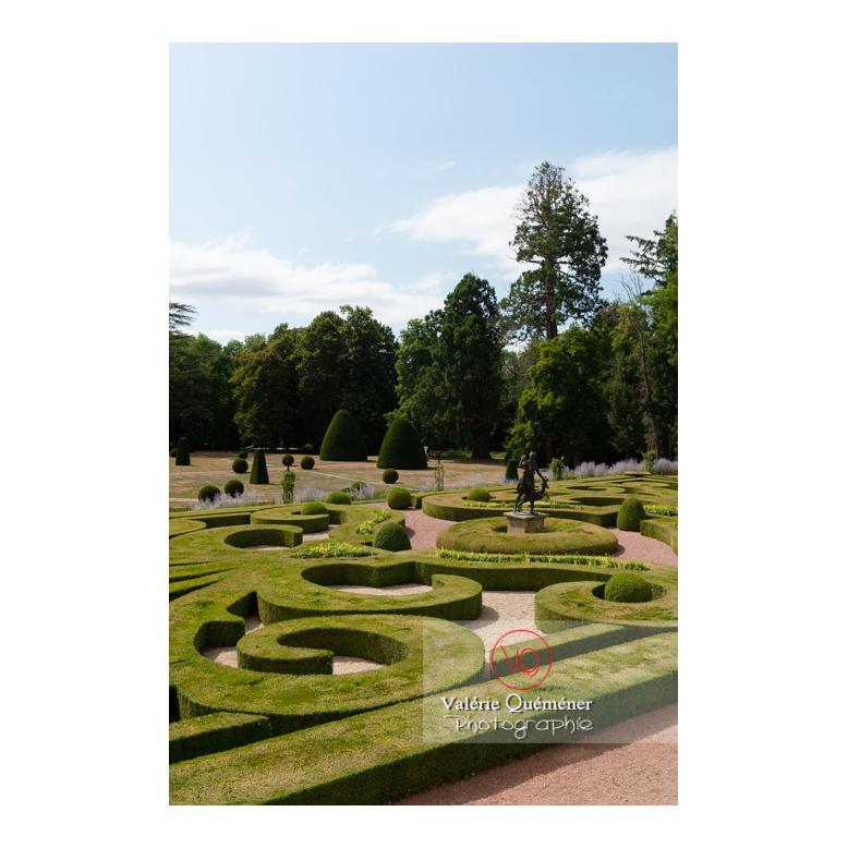 Art topiaire et parterre de broderie au jardin remarquable à la française au château de Drée (MH) à Curbigny / Saône-et-Loire / Bourgogne-Franche-Comté - Réf : VQFR71-2883 (Q3)