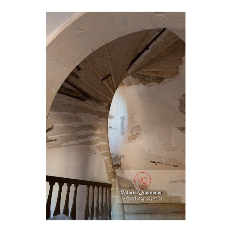 Escalier en colimaçon en pierre au château de Pierreclos / Saône-et-Loire / Bourgogne-Franche-Comté - Réf : VQFR71-3192 (Q3)