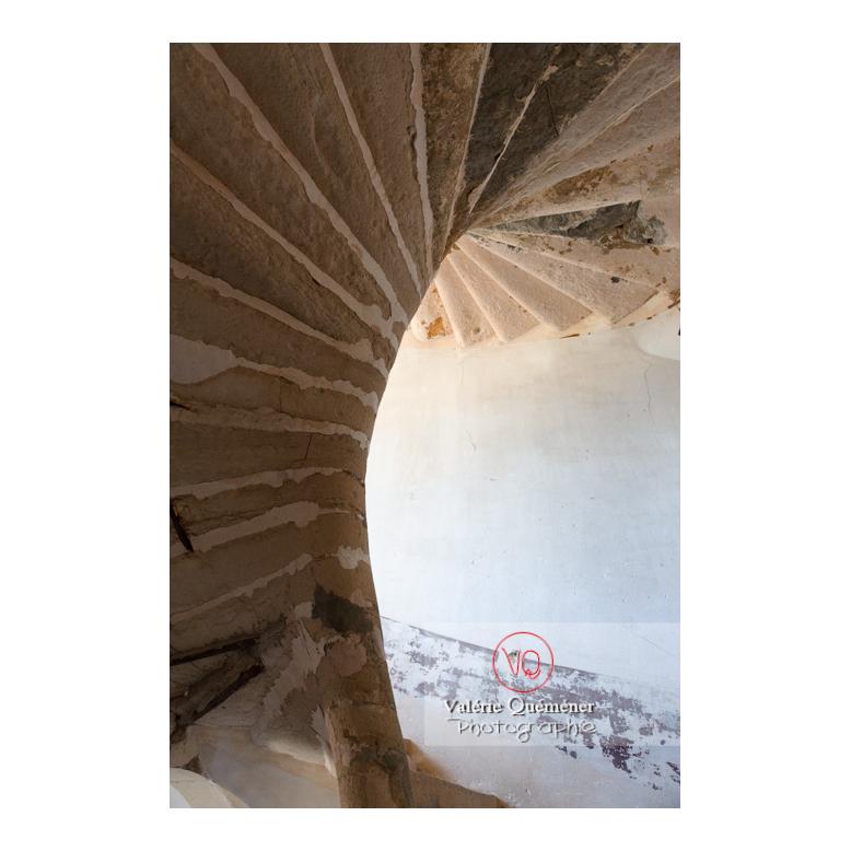 Escalier en colimaçon en pierre au château de Pierreclos / Saône-et-Loire / Bourgogne-Franche-Comté - Réf : VQFR71-3194 (Q3)