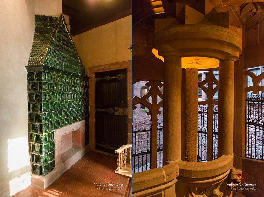 Carreaux en céramique et détail dans l'escalier d'honneur au château du Haut-Koenigsbourg | © Valérie Quéméner - Réf : VQFR67-0129-0088