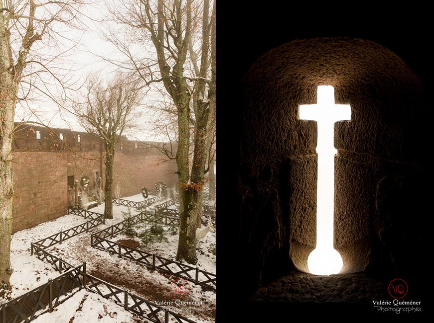 Jardin supérieur sous la neige et meurtrière au château du Haut-Koenigsbourg | © Valérie Quéméner - Réf : VQFR67-0155-0159