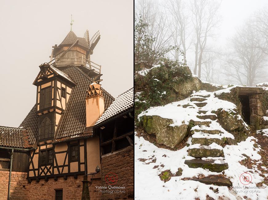 Moulin à vent dans la brume en hiver au château du Haut-Koenigsbourg | © Valérie Quéméner - Réf : VQFR67-0200 / 0216