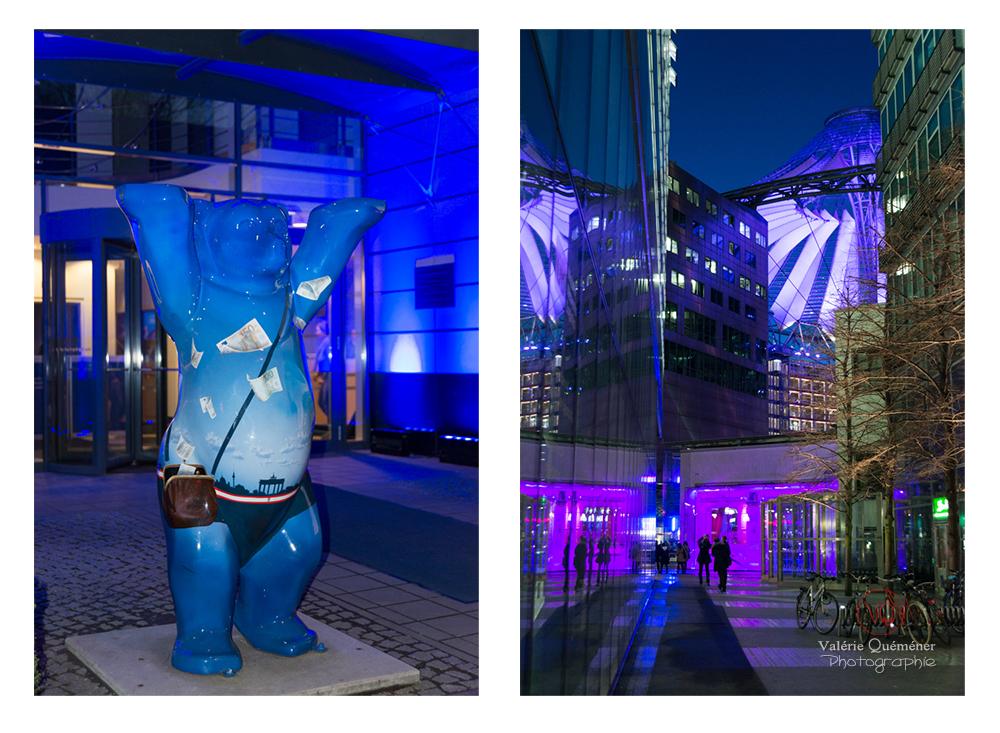 © Valérie Quéméner - L'ours de Berlin et le Sony Center Potsdamer Platz / Réf : VQALL_BL-0143-0161