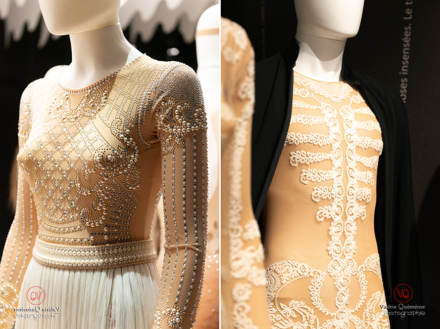 Costume en perle d'Olivier Rousteing chez Balmain et dentelle de Riccard Tisci chez Givenchy, CNCS à Moulins | © Valérie Quéméner - Réf : VQFR03-0378-0374