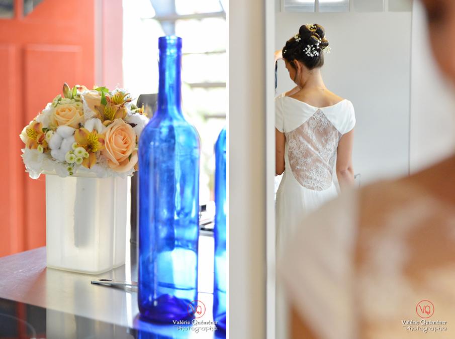 Détail bouquet et robe de mariée . Photo © Valérie Quéméner